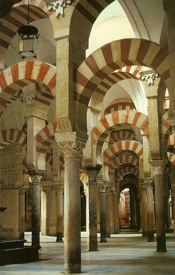 The Great Mosque , Cordoba The double horseshoe arcades of the prayer-hall